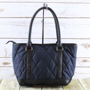 LL BEAN Blue Quilted Leather Tote Handbag